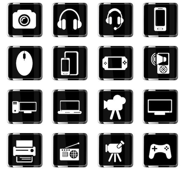 Icone vettoriali gadget per la progettazione dell'interfaccia utente