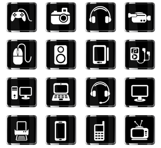 Icone web di gadget per la progettazione dell'interfaccia utente