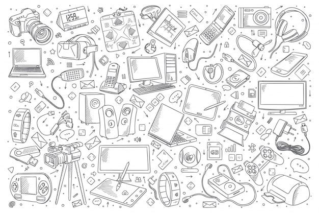 Insieme di doodle di gadget