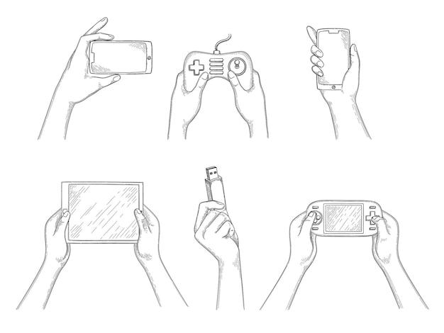 Gadget in mano. i dispositivi mobili digitali intelligenti in mani umane che tengono smartphone laptop tablet pc videocamere vettore sfondo disegnato a mano. schermo del dispositivo di illustrazione che tiene in mano