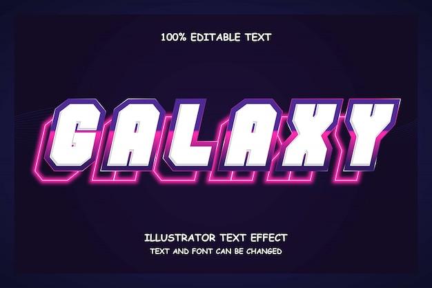 Galaxy, 3d effetto testo modificabile viola gradazione rosa moderno stile neon ombra