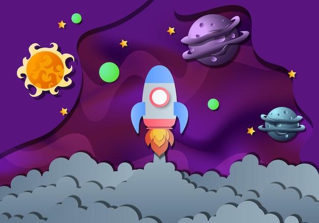 Sfondo della galassia con razzo e pianeta con stile di carta. illustrazione di vettore. sfondo astratto.