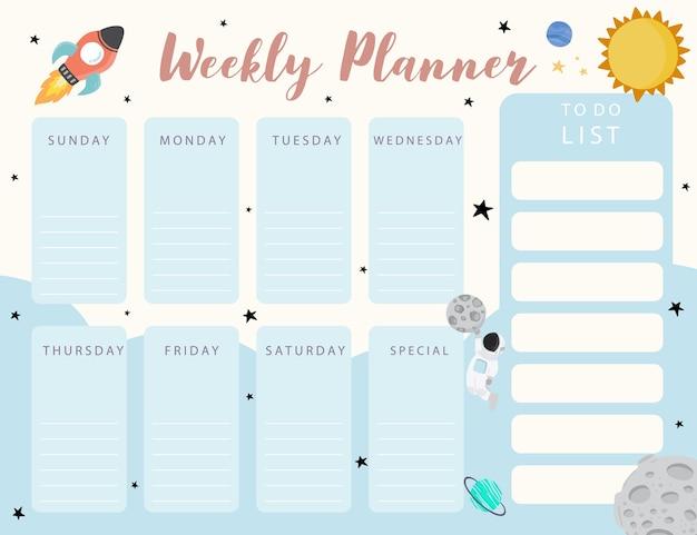 Pianificatore di calendario galaxy con pianeta