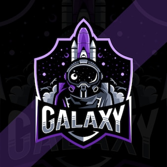 Galaxy mascot logo design modello esport