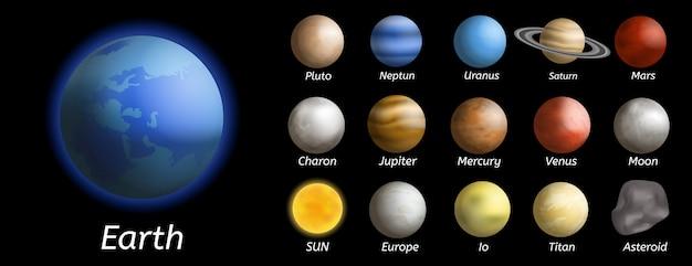 Set di icone di pianeti galaxy, stile realistico