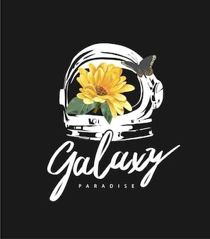 Slogan galassia con girasole nel casco da astronauta