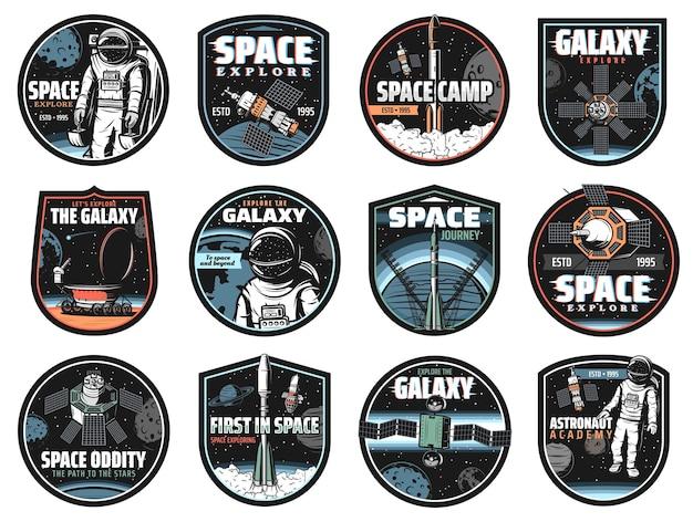 Icone di galassia, spazio, astronauta e razzo