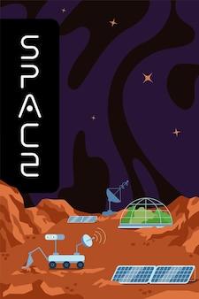 La galassia e l'universo esplorano la stazione scientifica del cartellone della base spaziale umana della colonizzazione dell'esopianeta
