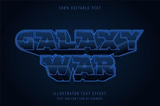 Guerra della galassia, stile di testo al neon con gradazione blu effetto testo modificabile 3d