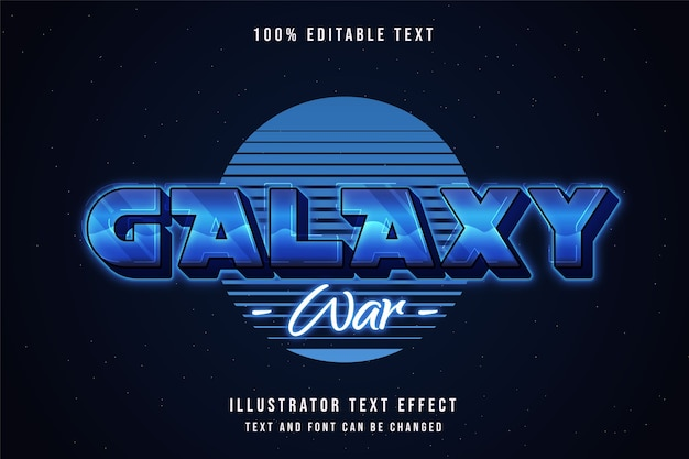 Galaxy war, 3d testo modificabile effetto blu gradazione viola anni '80 neon stile testo