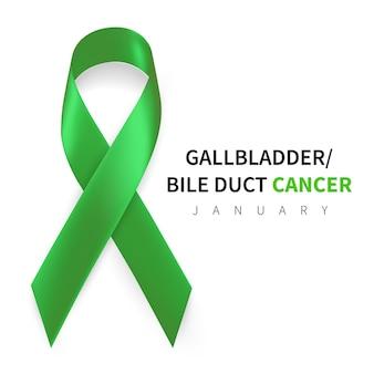 Mese della consapevolezza del cancro alla cistifellea e alle vie biliari. simbolo di nastro verde kelly realistico.
