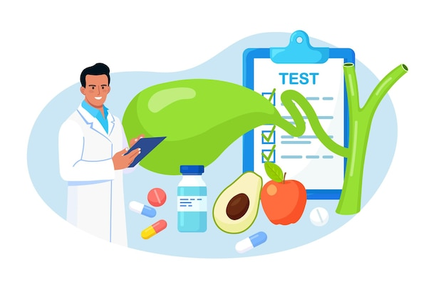 Cistifellea. i medici trattano i calcoli biliari. il medico dello scienziato del gastroenterologo esamina la cistifellea. problemi di discinesia biliare. ricerche di laboratorio sulla colecistite. sanità, ricerca medica