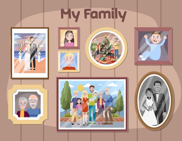 Galleria di ritratti di famiglia in cornici. foto di un gruppo di persone. mamma carina e papà innamorato. illustrazione vettoriale in stile cartone animato