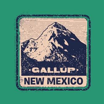Gallup illustrazione del distintivo del francobollo del nuovo messico con un classico design vintage