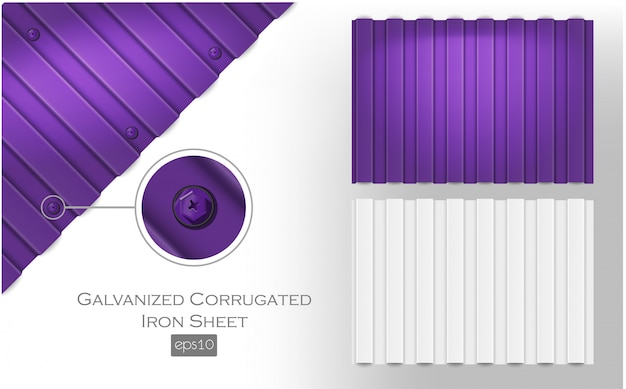 Lamiera di ferro ondulato zincato, colore viola e bianco. lastra di tegole metalliche per copertura o materiale di recinzione