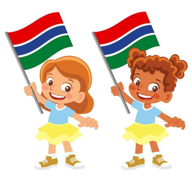 Bandiera del gambia in mano insieme