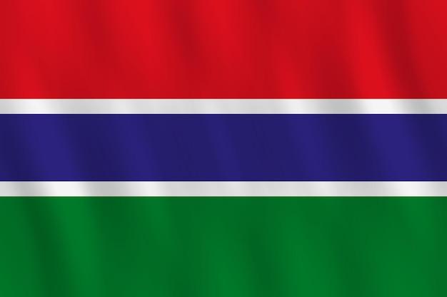 Bandiera del gambia con effetto ondeggiante, proporzione ufficiale.