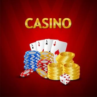 Chip di gioco con carta da gioco del casinò