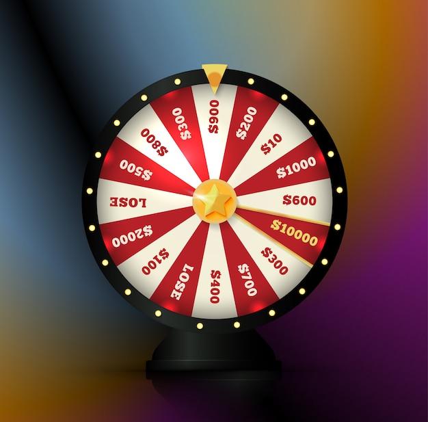 Elemento di gioco d'azzardo, ruota che gira, illustrazione di roulette. scommesse sul casinò, icona scommesse online.