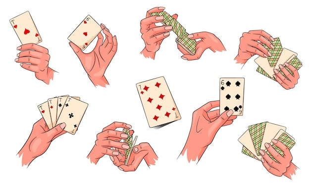 Gioco d'azzardo. carte da gioco in mano. casinò, fortuna, fortuna. grande insieme. stile cartone animato. illustrazione vettoriale per design e decorazione.