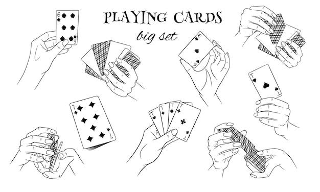 Gioco d'azzardo. carte da gioco in mano. casinò, fortuna, fortuna. grande insieme. stile di linea. illustrazione vettoriale per design e decorazione.