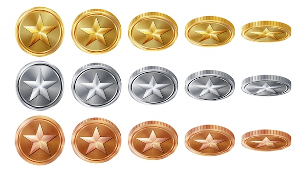 Gioco 3d monete d'oro, argento, bronzo