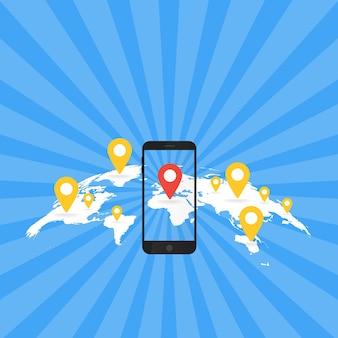 Concetto di applicazione del gioco. navigazione mappa gps con schermo del telefono. illustrazione vettoriale.