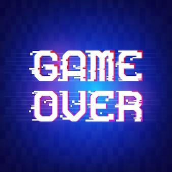 Game over banner per giochi con effetto glitch in pixel.