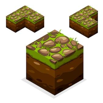 Gioco cubi isometrici, natura infinita terra e pietra sull'erba
