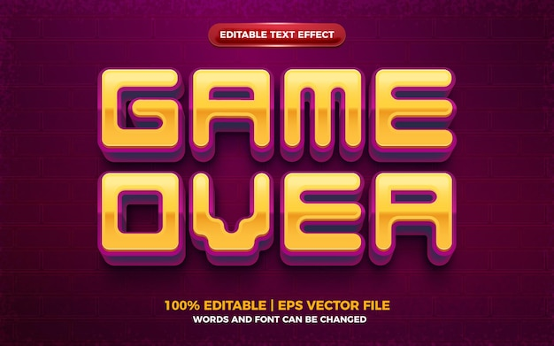 Game over grassetto effetto di testo modificabile in 3d