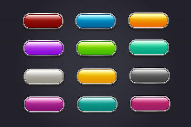 Pulsanti di gioco. raccolta lucida di vettore del bottone del videogioco del fumetto
