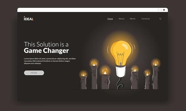 Modello di prima schermata rivoluzionario con una lampadina tra le candele come concetto di nuove soluzioni.