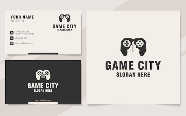 Modello di logo della città di gioco in stile monogramma