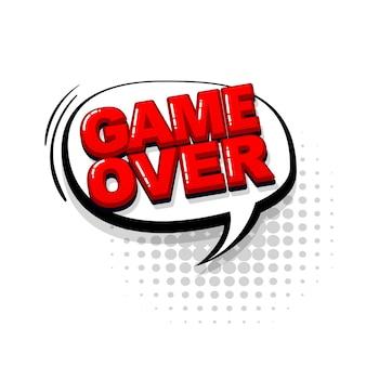 Game over fumetto rosso raccolta di testo effetti sonori stile pop art vector discorso bolla