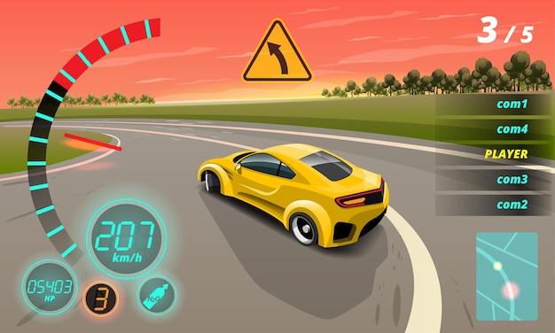 Nella competizione di gioco, il giocatore continua a utilizzare l'auto ad alta velocità per vincere nel gioco di corse.