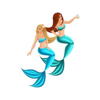 Cartoon concetto di gioco, due bellissime sirene con i capelli lunghi, serena, ragazza, mare, coda. personaggi