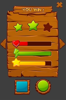 Illustrazione di concetto di gioco interfaccia in legno con pulsanti.