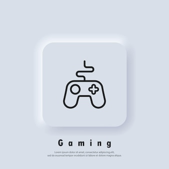 Logo della console di gioco. icona della linea del controller di gioco. icone del joystick. gamepad. vettore. icona dell'interfaccia utente. pulsante web dell'interfaccia utente di neumorphic ui ux bianco. neumorfismo