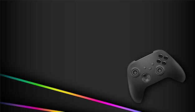 Controller di gioco astratto futuristico scuro con sfondo di gioco di luce rgb