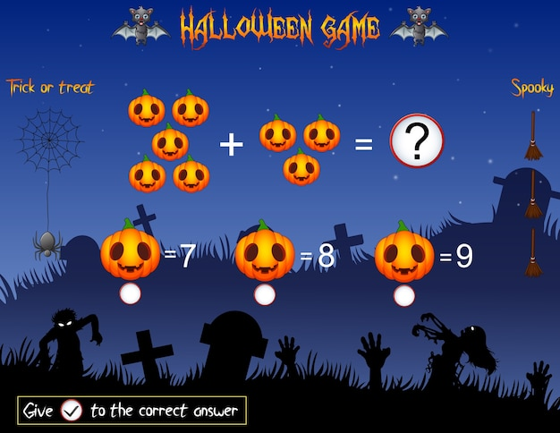 Il gioco conta le zucche nel tema di halloween