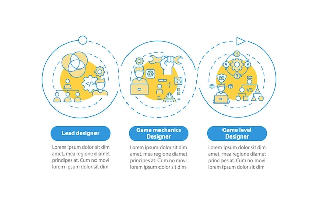 I progettisti di giochi tipi modello di infografica. elementi di design di presentazione del progettista di meccaniche di gioco. visualizzazione dei dati con 3 passaggi. elaborare il grafico della sequenza temporale. layout del flusso di lavoro con icone lineari
