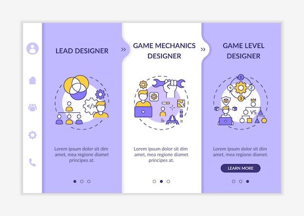 Modello di onboarding per i progettisti di giochi. progettista delle meccaniche di gioco del progetto di gioco di squadra. sito web mobile reattivo con icone. schermate di passaggio della procedura guidata della pagina web.