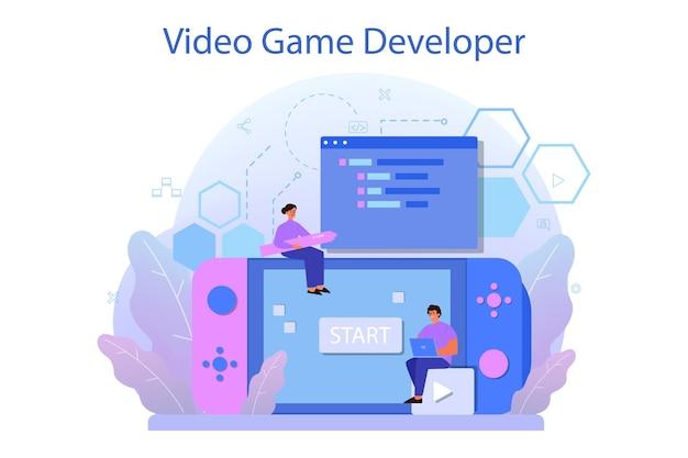 Concetto di sviluppo del gioco. processo creativo di progettazione di un videogioco per computer. tecnologia digitale, programmazione e codifica.