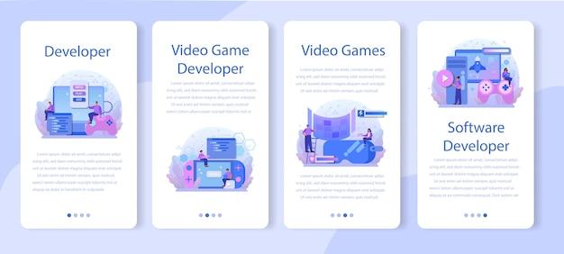 Set di banner per applicazioni mobili di sviluppo di giochi