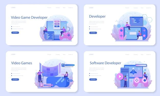 Banner web per lo sviluppo di giochi o set di pagine di destinazione