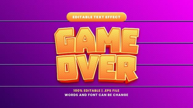 Game over effetto testo modificabile in moderno stile 3d