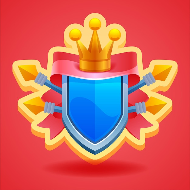 Elementi di gioco scudo con corona e nastro