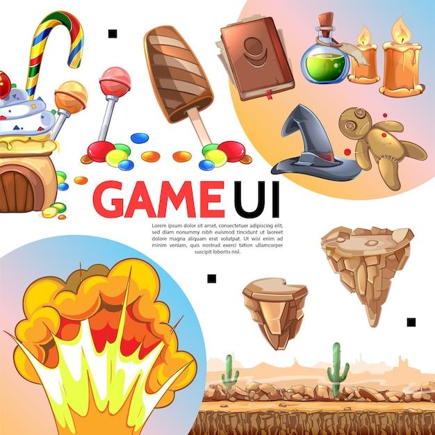 Modello di elementi di gioco in stile piatto