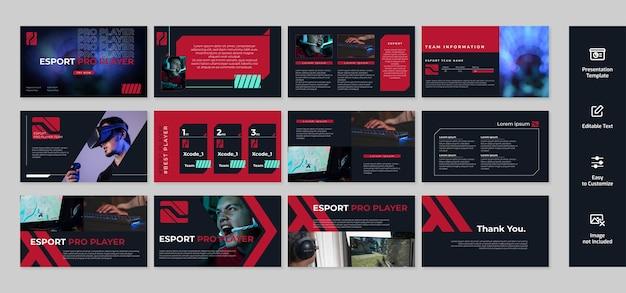 Presentazione di gioco ed esport, modello powerpoint con sfondo di colore scuro