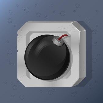Icona del gioco di bomba in stile cartoon